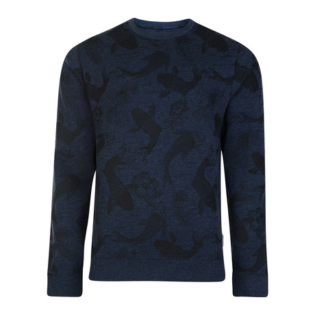 Trapani Fish Printed Sweatshirt // Navy (XS)