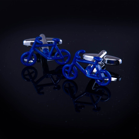 Exclusive Cufflinks + Gift Box // Blue Bikes