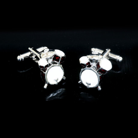 Exclusive Cufflinks + Gift Box // Silver + Red Drum Sets