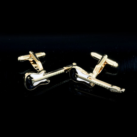 Exclusive Cufflinks + Gift Box // Gold Guitars