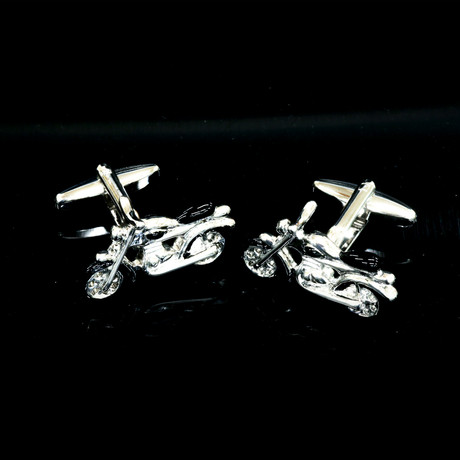 Exclusive Cufflinks + Gift Box // Silver + Black Motorbikes