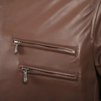 Rory Leather Biker Jacket // Brown (XS)