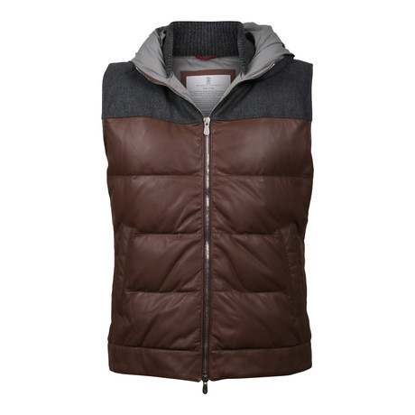 Arland Two Tone Leather Vest // Brown + Gray (XS)