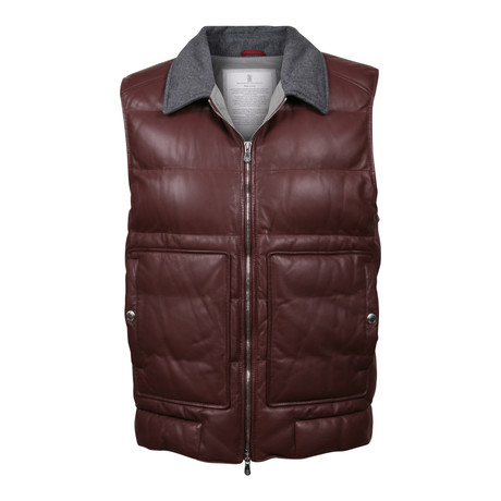 Baran Leather Vest // Burgundy (XS)