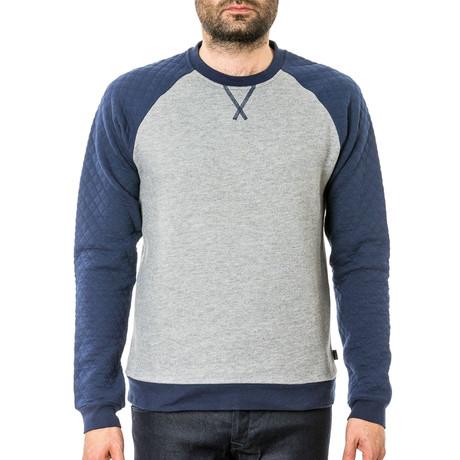 Keswick Crew Neck Sweater // Heather Grey + Navy (S)
