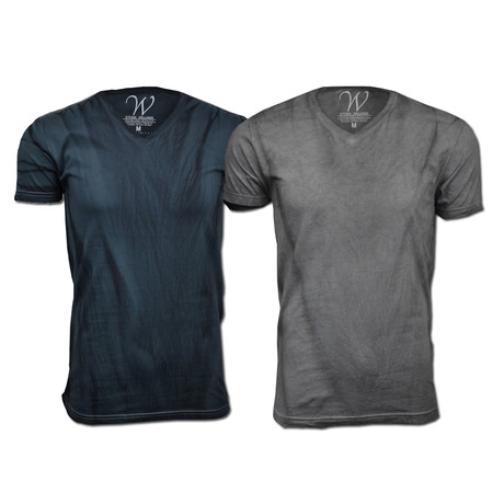 Ultra-Soft Hand Dyed V-Neck // Vintage Charcoal + Vintage Gray // Pack of 2 (S)