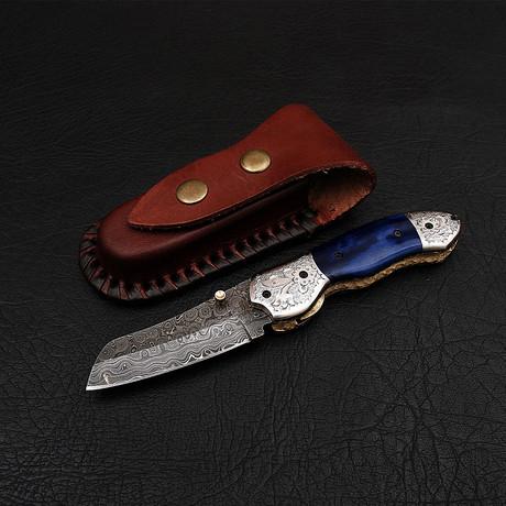 Handmade Damascus Liner Lock Folding Knife // 2709