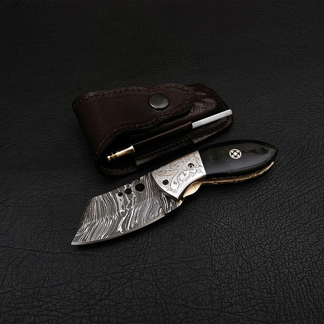 Handmade Damascus Liner Lock Folding Knife // 2715