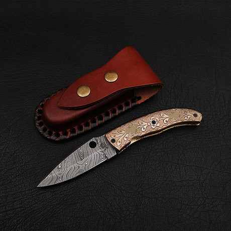Handmade Damascus Liner Lock Folding Knife // 2716