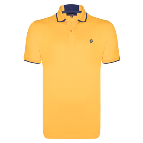 Eli SS Polo Shirt // Yellow + Navy (S)