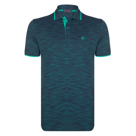 Tommy SS Polo Shirt // Navy + Green  (S)