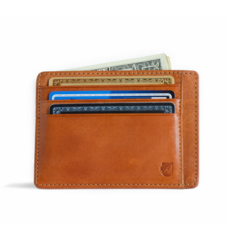 Minimalist RFID Protection Wallet // Vegetable Tanned // Caramel