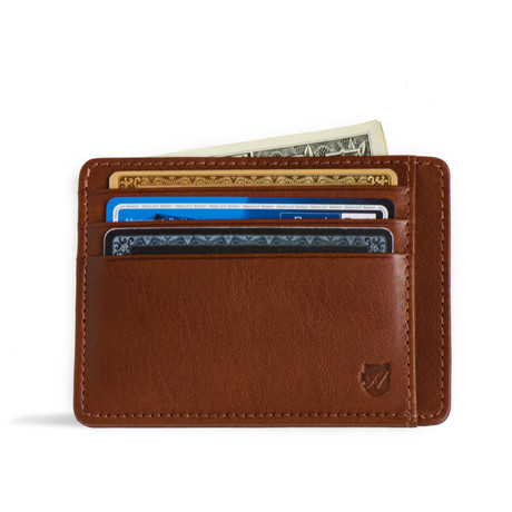 Minimalist RFID Protection Wallet // Vegetable Tanned // Cognac