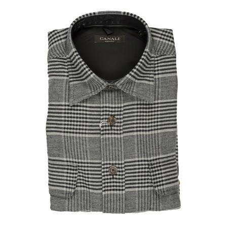 Plaid Modern Fit Fleece Shirt // Gray (S)