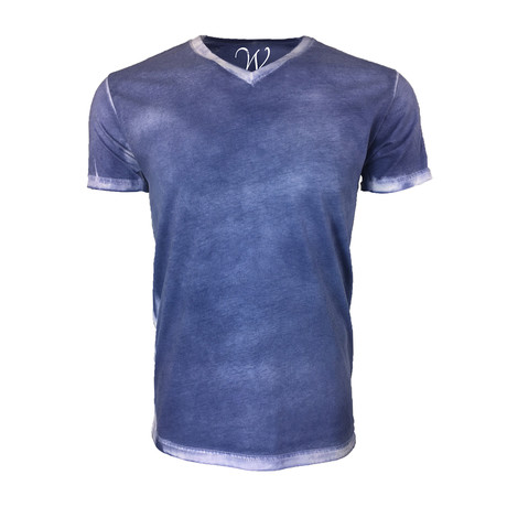 Ultra Soft Hand Dyed V-Neck // Stressed Navy (XL)