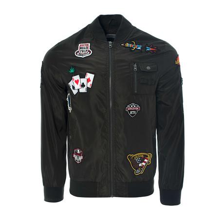 Badged Bomber Jacket // Khaki (S)