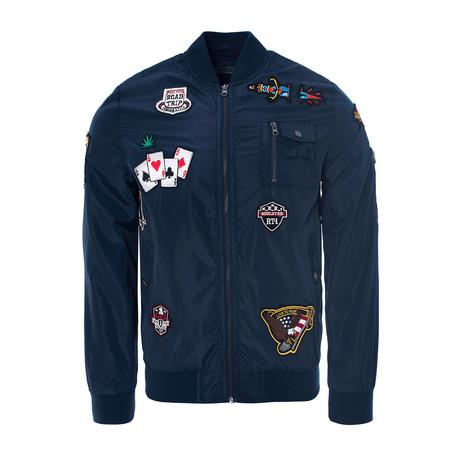 Badged Bomber Jacket // Blue (S)