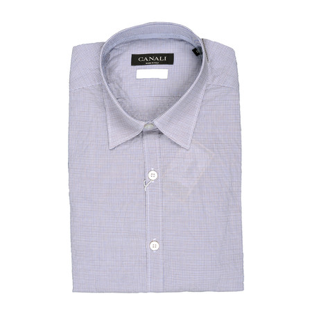 Plaid Stretch Slim Fit Shirt // Lilac (S)