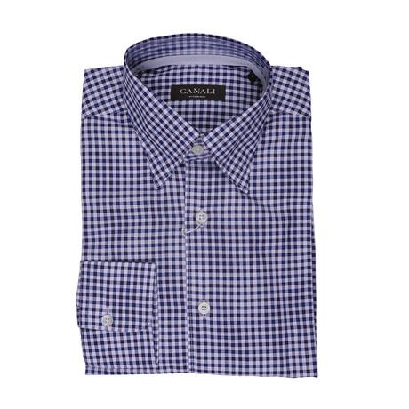 Plaid Regular Fit Shirt // Blue + White (S)