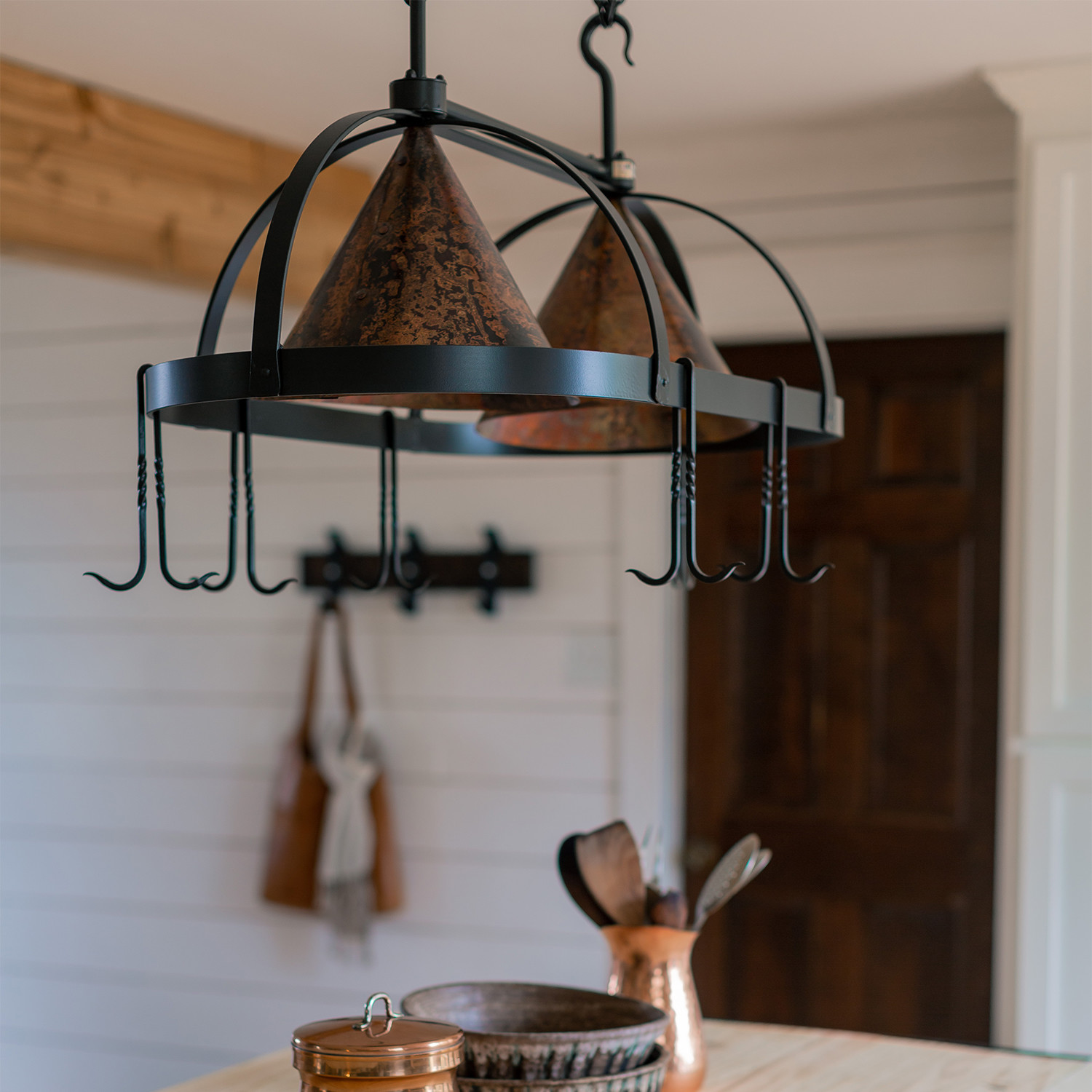 Dutch Oval Pot Rack With Fired Copper Shades