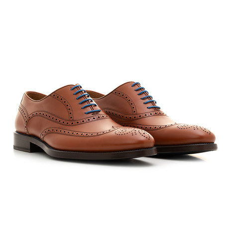 Oxford YF Calf Leather // Cognac + Blue (Euro: 39)