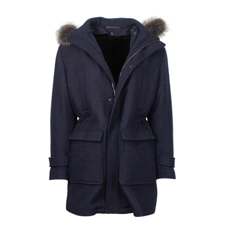 Caruso // Cashmere Blend Hooded Zip Up Coat // Blue (Euro: 48)
