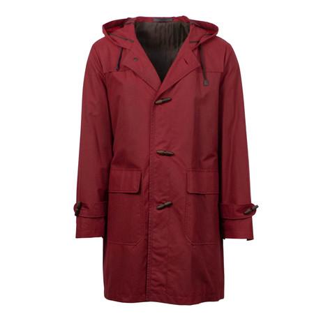 Caruso // Cotton Hooded Rain Coat // Red (Euro: 48)