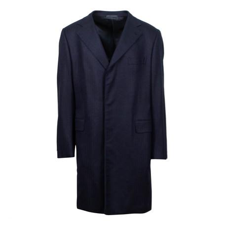 Caruso // Herringbone Cashmere Overcoat // Blue (Euro: 48)