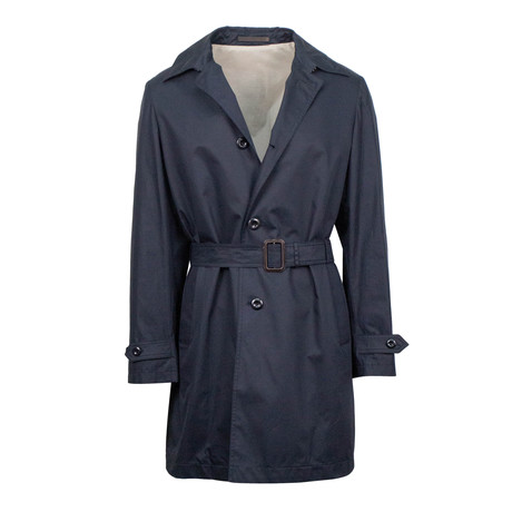 Caruso // Cotton Blend Belted Raincoat // Blue (Euro: 48)