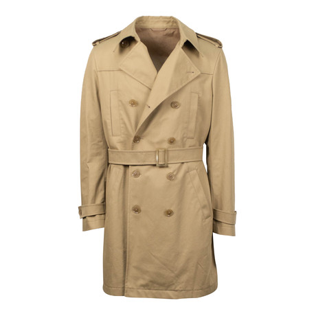 Caruso // Double Breasted Cotton Trench Coat // Beige (Euro: 48)