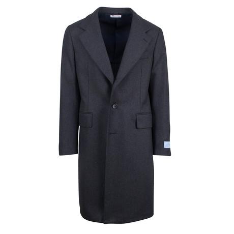 Belvest // Herringbone Wool Full Length Coat // Gray (Euro: 48)