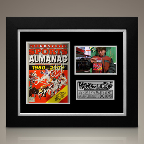Back To The Future // Michael J Fox + Christopher Lloyd Signed Sports Almanac // Custom Frame (Signed Almanac)