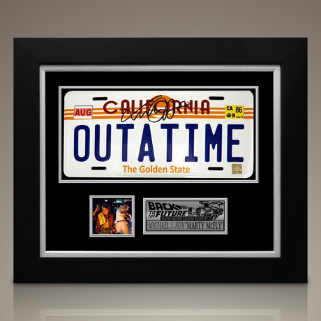 Back To The Future // Michael J Fox Signed Outatime License Plate // Custom Frame (Signed License Plate)