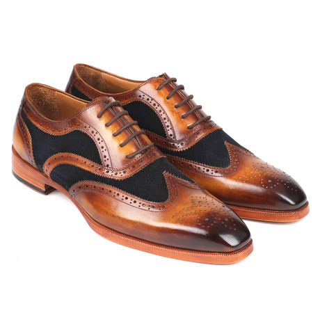 Leather Suede Wingtip Oxfords Brown Navy Euro 38 Paul