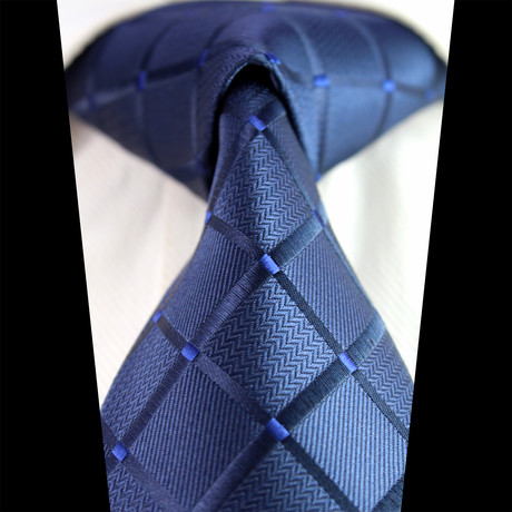 Silk Neck Tie + Gift Box // Solid Blue Squares