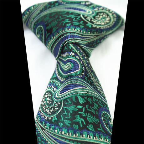 Silk Neck Tie + Gift Box // Metallic Green Paisley