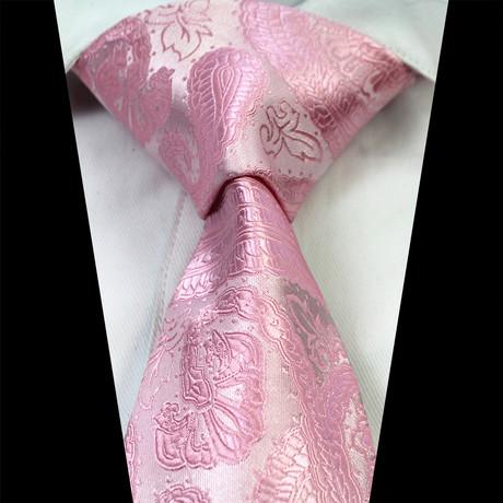 Silk Neck Tie + Gift Box // Metallic Pink Paisley