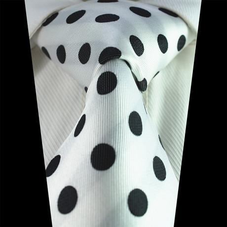 Silk Neck Tie + Gift Box // White + Black Polka Dot