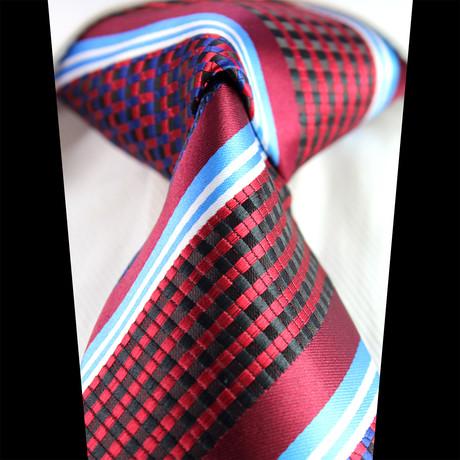 Silk Neck Tie + Gift Box // Burgundy + Blue Lines