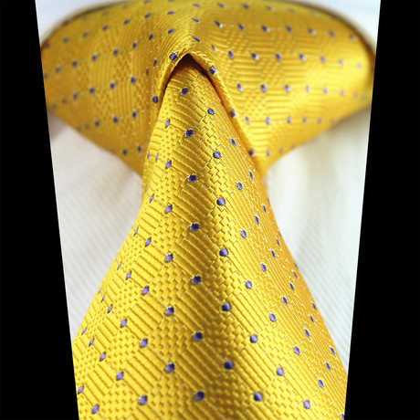 Silk Neck Tie + Gift Box // Metallic Yellow + Purple