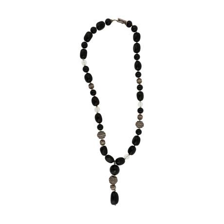 Vintage Mario Buccellati Sterling Silver Onix Rocca Crystal Necklace