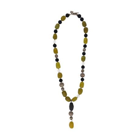 Vintage Mario Buccellati Sterling Silver Green Giada Onyx Rocca Crystal Necklace