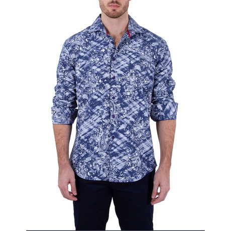Jake Long-Sleeve Button-Up Shirt // Blue (XS)