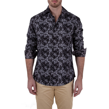 Tracy Long-Sleeve Button-Up Shirt // Black (XS)