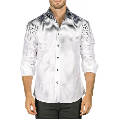 Linwood Long-Sleeve Button-Up Shirt // Navy + White (XS)