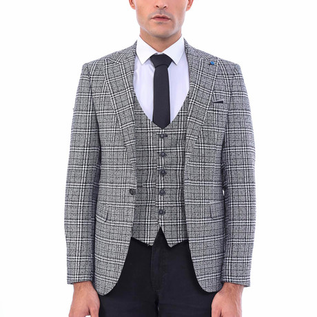 Valentine Slim-Fit Blazer + Vest // Black + Gray (Euro: 44)