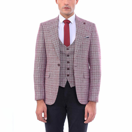 Zachariah Slim-Fit Blazer + Vest // Burgundy (Euro: 44)