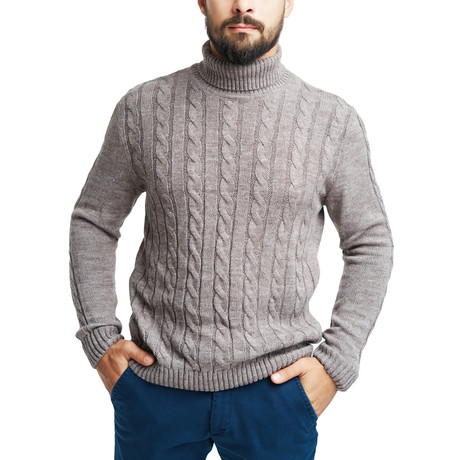 Wool Elbow Patch Polo Neck // Cappuccino (S)