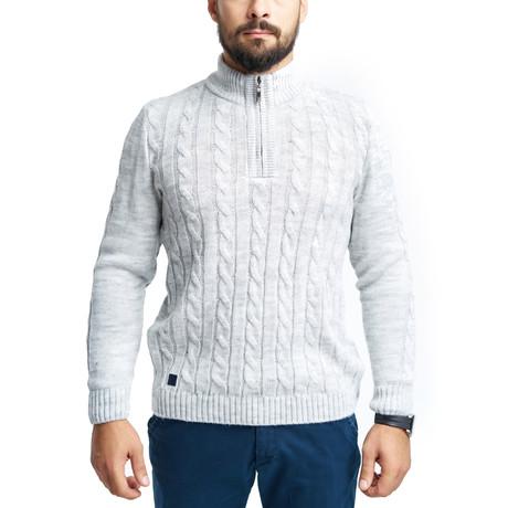 Wool Quarter-Zip Sweater // Light Gray (S)