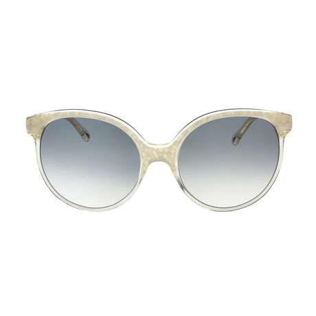 Chloe // Classic Round Sunglasses // Ivory + Gray Gradient